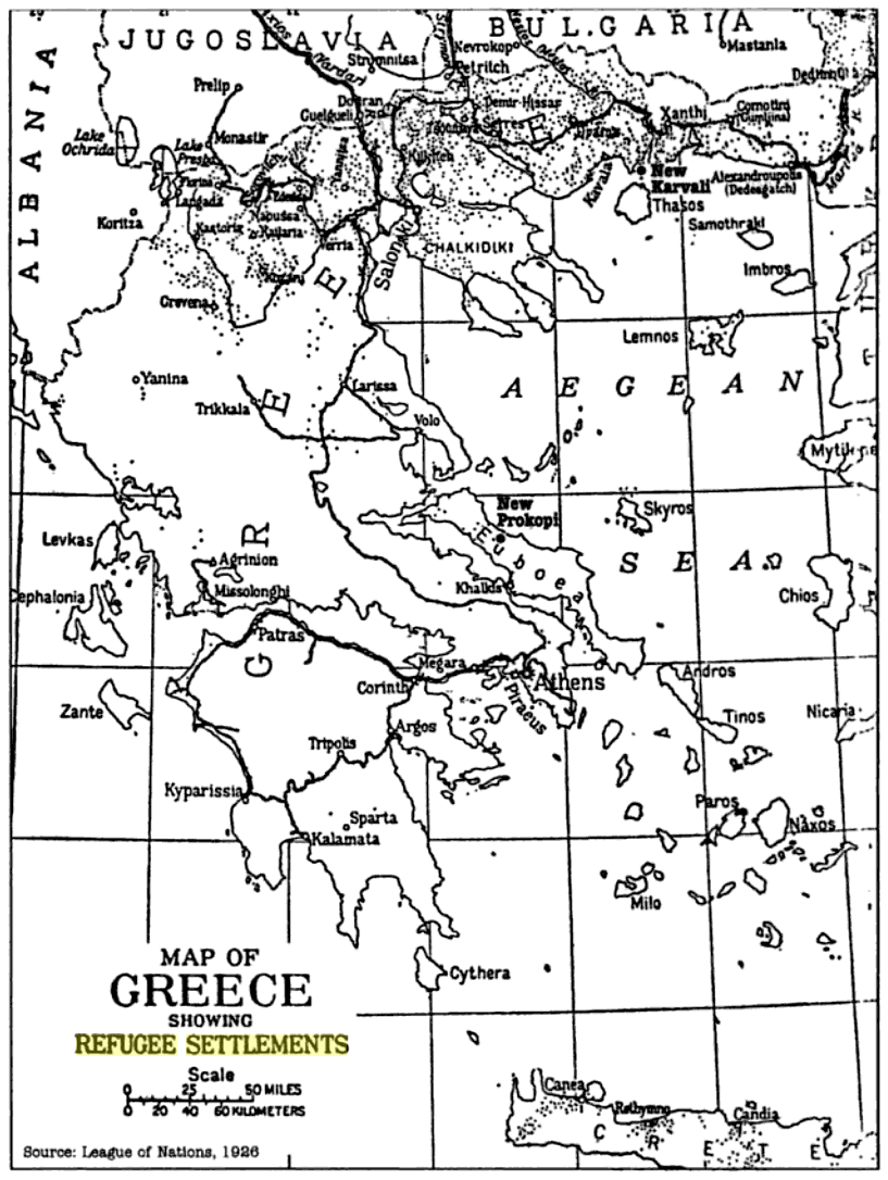 Map of Greece showing Refugee Settlements 1926