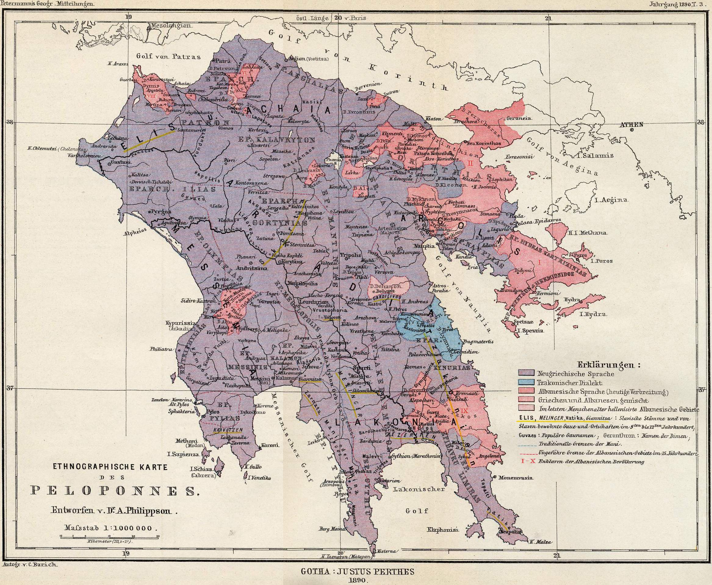 Albanian-speaking and Newgreek-speaking areas, 1890.